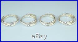 Rare Cartier Set Of 4 Sterling Silver Trinity Napkin Rings Original Box Pouches