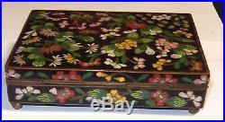 Rare Chinese Cloisonne Black Enamel Floral Humidor Jar Box