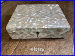 Rare Gorgeous Antique Vintage 20th Century Veneered Mother of Pearl Trinket Box