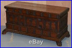 Rare Hand Carved 18th Century Italian Walnut Cassone Trunk Chest Blanket Box