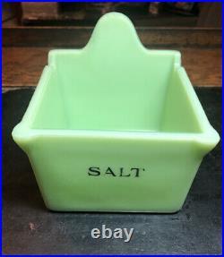 Rare Jeanette Glass Jadite Jadeite Green Original Salt Box 1930s Depression