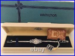 Rare Ladies Hamilton All Diamond & 14k Gold Art Deco Watch With Original Box