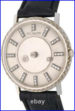 Rare Lecoultre 18k White Gold Mystery Dial With Diamonds Original Box And Papers