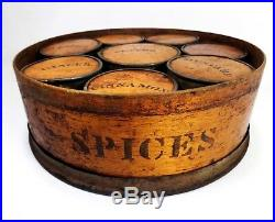 Rare Mid-19th Cent Antique Bentwood/tin 9 Piece Stenciled Spice Bins/pantry Box