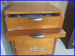 Rare Mid Century CARROM Ind Institutional Hospital Furniture Birch Ice Box Desk