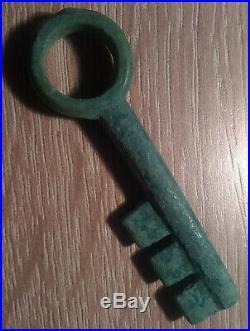 Rare Original Ancient Roman locker box security Key artifact intact green patina