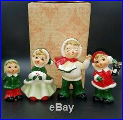 Rare Set 4 Vintage Josef Originals Children Christmas Carolers Figurines with Box