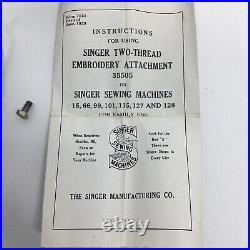 Rare! Singer Two Thread Embroidery Attachment 35505 Original Box Tested & Works