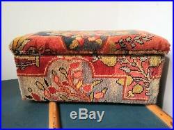 Rare Victorian 19th Century Carpet Covered Wooden Ottoman Chest Box