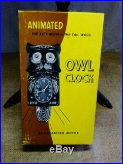 Rare Vintage Animated Owl Clock Jeweled Light Brown & Original Box Kit Cat Klock
