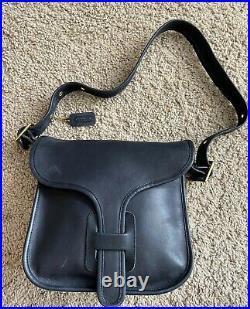 Rare Vintage Coach NYC COURIER BAG Purse NAVY blue Flap Style #8920 Original Box