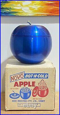 Rare Vintage Novo Anodised Blue Apple Ice Bucket In Original Box Made In Sydney