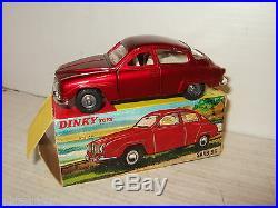 Rare Vintage Original Dinky 156 Saab 96 & Original Dinky Box