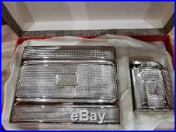 Rare Working Evans Clipper Pocket Lighter & Cigarette Case Set / Original Box