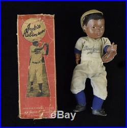 SCARCE Circa 1950 Jackie Robinson Doll with Original Box(RARE VARIATION) & Tag