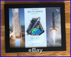 SpaceX SES-10 Employee Numbered Patch on Certificate, Framed w RARE Original Box