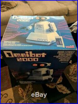 TOMY Omnibot 2000 Robot Vintage 1980s Toy Remote and Tray original box rare