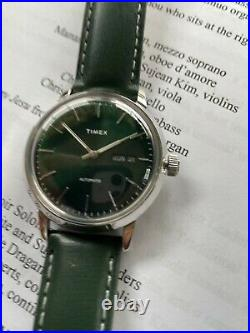 Timex Marlin 40m automatic day-date, rare green excellent, original box