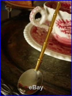 Ultra RARE Vintage GUCCI Bamboo Cocktail Spoons Set Barware Service Piece Box