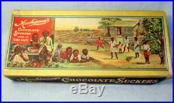 Ultra Rare Ca. 1910 Mewhinney's CHOCOLATE SUCKERS Black Americana Candy Box
