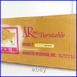 VTG Acoustic Research AR Turntable with Original BOX! Walnut Serial TT 15259 RARE