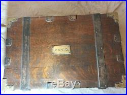Very Rare! 19th Century Captains Officers Military Campaign Oak Strong Box Chest