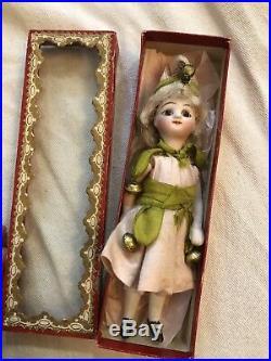 Very Rare All Original In Box 4.5 French Mignonette Jester Antique Bisque Doll