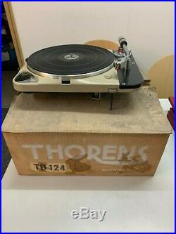 Very Rare Vintage First Series Thorens Td 124 In Original Box Used