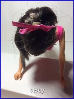 Vintage Barbie Htf Nmib Dark Brunette Standard Barbie In Rare Rose Box