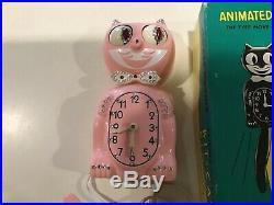 Vintage Jeweled KIT CAT Animated CLOCK w original Box RARE PINK COLOR / Klock