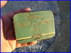 Vintage Original Ford auto Emergency kit Can box bulb fuse accessory tool kit
