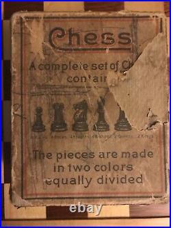 Vintage Rare American Horn McCrillis Chess Set 2.8 K Original Box