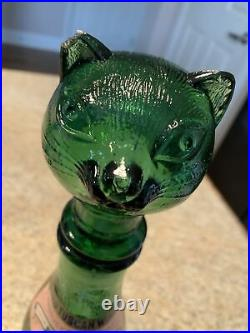 Vintage Rare SetBESSI CAT & DOG Green Glass Decanters With Original Box