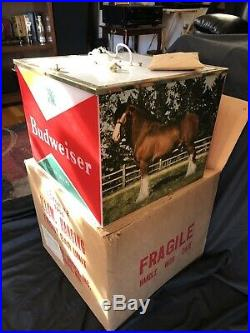 XX Rare NOS 1956 Budweiser/ Clydesdale Hanging Light In Original Box Never Hung