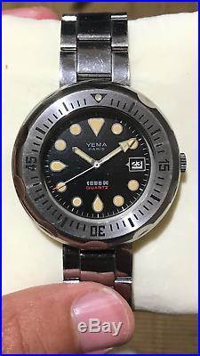 Yema 1000m Vintage Diver Watch, Original Bracelet, Box, VERY RARE! NR